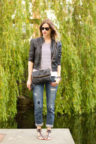 blue Zara jeans - black Forever 21 jacket - white JCrew top