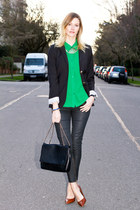 black Aritzia blazer - green Urban Outfitters top - brown sam edelman heels