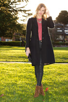 brown Zara boots - black banana republic coat - black Zara jeans