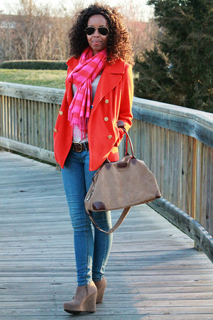 Gap scarf - Old Navy coat - H&amp;M jeans - Cotton Traders Uk bag