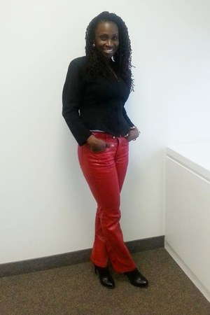 red snakeskin pants - black ankle Guess boots - black wool blazer