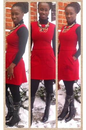 red mod inspired Zara dress - black patent leather peaches boots