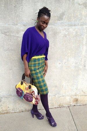 purple kimono style lechateau sweater - bag - gold thrifted patent belt