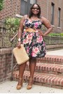 Black-floral-american-rag-dress-tan-straw-mom-bag