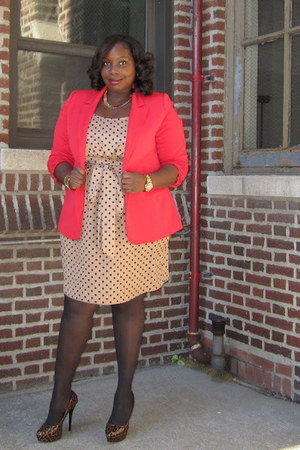 red Forever21 blazer - black leopard print Bakers shoes