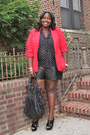 Black-leather-torrid-shorts-red-one-button-forever-21-blazer