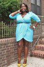 Turquoise-blue-wrap-fashion-to-figure-dress-yellow-platforms-aldo-heels