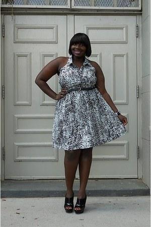 black Jessica Simpson shoes - black zebra print faith21 dress - white zebra prin
