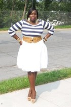white full Gap skirt - navy stripes H&M shirt