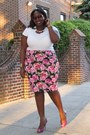 Hot-pink-floral-forever21-skirt-white-old-navy-t-shirt