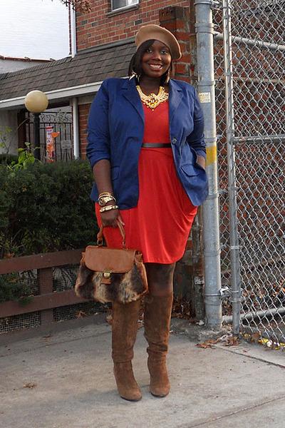 3f1a5ea0c8 brown top handle Aldo bag - burnt orange drapes fashion to figure dress
