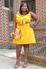 Yellow-ruffled-ashley-stewart-dress-tan-ankle-strap-vince-camuto-shoes