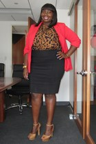 red one button Forever 21 blazer - brown tunic Evans shirt