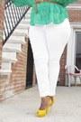 Chartreuse-oversized-kmart-lys-blouse-white-skinny-faith21-plus-jeans