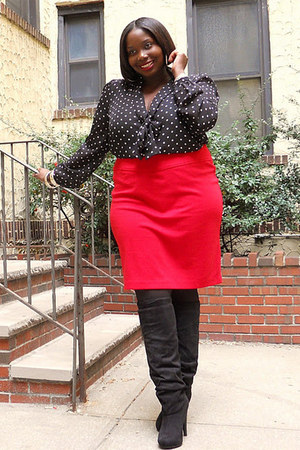 ruby red pencil bloomingdales skirt - black polkadot Forever21 blouse