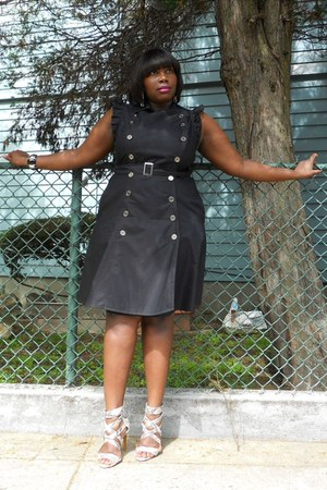 strappy python calvin klein shoes - black buttons eShakti dress - silver cuff Ra