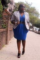 blue pleated Faith21 Plus dress - black striped jessica London blazer - white st
