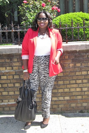 black printed Kmart pants - red Forever21 blazer - white Old Navy shirt