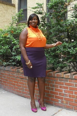 orange ruffles Avenue top - deep purple Faith21 Plus skirt