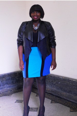 black waterfall torrid jacket - blue color block Faith21Plus skirt - turquoise b