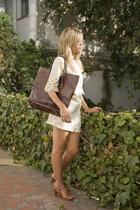 brown SU-SHIcom bag - brown sandals SU-SHIcom shoes - beige SU-SHIcom dress