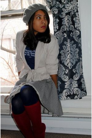 charcoal gray Target hat - off white H&M sweater - navy We Love Colors tights -
