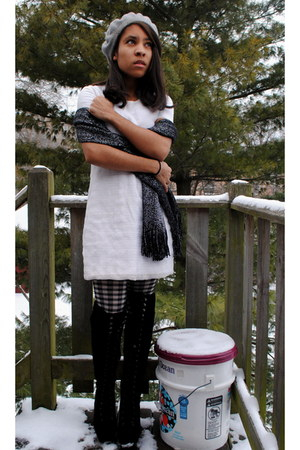 black Forever 21 boots - white vintage dress - gray Target hat
