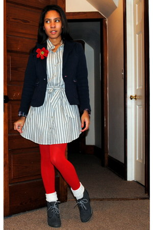 dark gray modcloth boots - gray Converse dress - navy Forever 21 blazer - red We