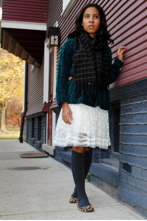 green Gap sweater - white Forever 21 dress - gray Target socks