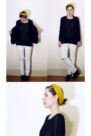 white WECS jeans - black DKNY blazer - mustard vintage scarf - hot pink cutie so