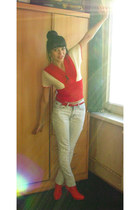 red leather boots bb up boots - light blue jeans - white knit top top