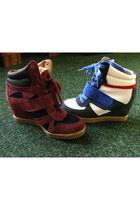 magenta suede sneakers - blue sneakers