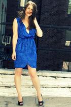 blue amanda uprichard dress - black Jimmy Choo shoes - silver nadri bracelet