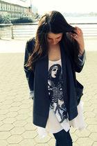 gray guy french blazer - white lauren moshi t-shirt - blue J Brand jeans