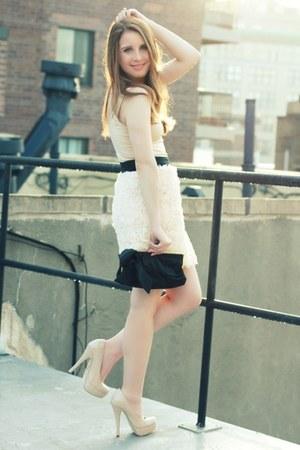 ivory Zara dress - black JCrew bag - ivory Forever 21 heels