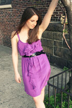 purple Rebecca Taylor dress - black Burberry belt