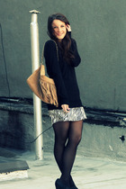 black JCrew sweater - beige Charlie My Love purse - silver made it myself skirt