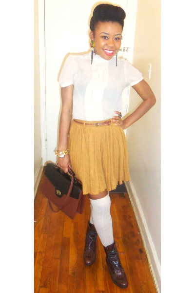 skirt - boots - fitted blouse