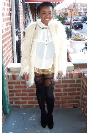 white jacket - gold shorts - black wedges