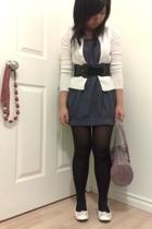 H&M stockings - PI dress - Stitches belt - cardigan - PI shoes - Nine West purse