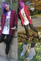 hot pink Goodwill blazer - olive green Charlotte Russe boots