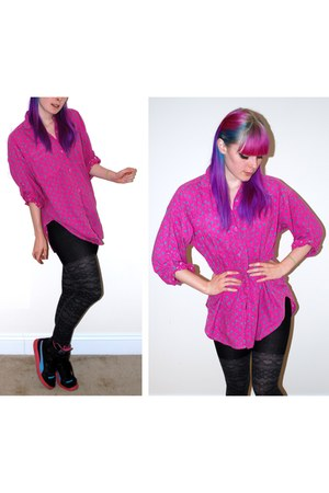 black Forever 21 tights - black Puma shoes - hot pink Goodwill top