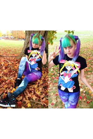 black sailor moon Hot Topic t-shirt - amethyst Lovelysally leggings