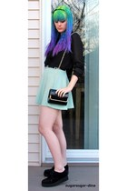 black gold tipped bag Forever 21 bag - black creepers Ebay shoes