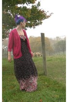 black floral maxi Forever 21 dress - hot pink sequin cardigan Old Navy cardigan