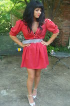 red vintage dress - white Frye shoes - white vintage belt