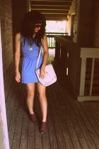 blue wwwvintageforwardblogspotcom dress - white wwwvintageforwardblogspotcom pur