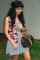 yellow thrift belt belt - white f21 striped dress dress - black vintage bag bag