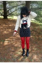 ivory meow vintage sweater - black yeehaw vintage boots - red Target tights