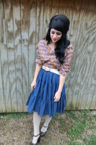 light orange side ruffle vintage blouse - beige hearts f21 tights